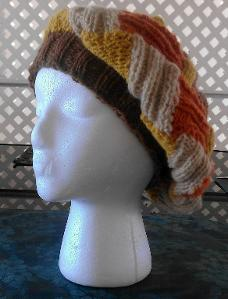 Ribbed Entrelac Beret Knit Pattern Picture
