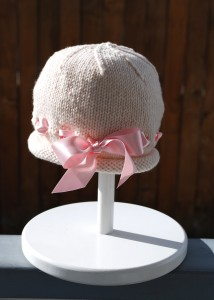 Pictures of Ribbon Baby Bonnet Knitting Pattern
