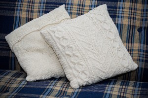 Photos of Cable Knitted Pillow Cover Pattern