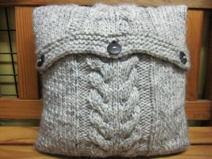 Cabled Knitted Cushion Cover Pattern Picture