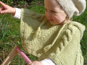 Cabled Poncho Baby Knitting Pattern Images
