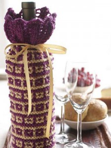 Images of Cozy Knit Wine Bottle Cover Pattern