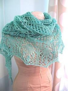 Glam Shells Lace Shawl Knitting Pattern Picture