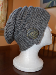 Photos of Loom Knit Buttoned Slouchy Hat Patterns
