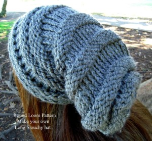 Loom Knit Slouchy Hat Patterns Tutorial Images