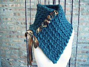 Pictures of Neck Warmer Herringbone Knitted Pattern