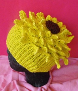 Pictures of Sunflower Beanie Hat Knitting Pattern