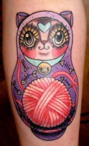 cat russian doll tattoo